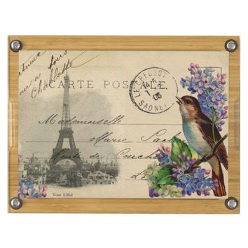 Paris Postcard Bird on Lilacs Cheese Board
