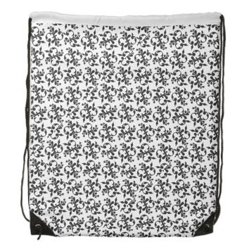 Black And White Damask Drawstring Backpack