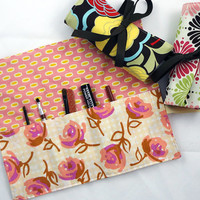 Makeup brush roll, makeup organizer, cosmetic brush holder, also crochet DPN needle case, peach pink lilyrose - Ready to Ship