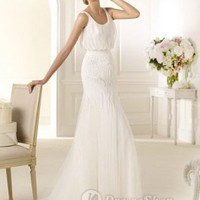 Organza Scoop Neckline Sheath Ruched Bodice Accented With Sequins 2013 Wedding Dresses at Dresseshop