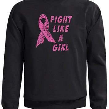 Sweatshirt Screen Printed for a Cause. Fight Like a Girl Design in Honor of those fighting Cancer.