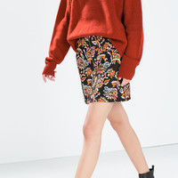 Printed skirt with a front zip