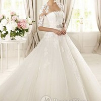 Tulle And Lace Strapless Ball Gown Detachable Lace Jacket 2013 Wedding Dresses at Dresseshop