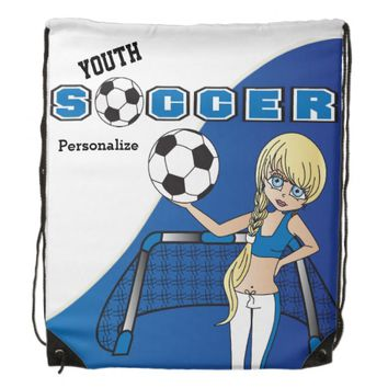 Youth Soccer Personalize Backpacks -Blue