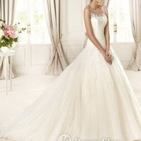 Tulle And Lace Illusion Jewel Neckline Ball Gown Appliqued Bodice 2013 Wedding Dresses at Dresseshop