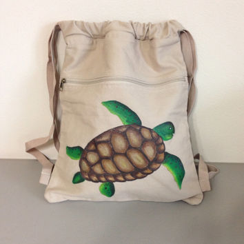 Backpack with Hand Painted Turtle
