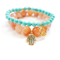 Hamsa Bracelet Peach Quartz