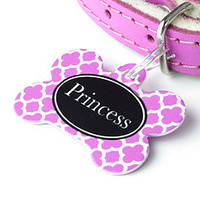 Personalised Pet Name Tag Bone Clover