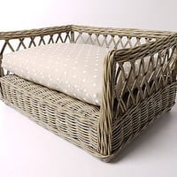 Raised Rattan Dog Bed