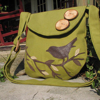 Singing Bird on a Branch medium with adjustable strap and 6 pockets