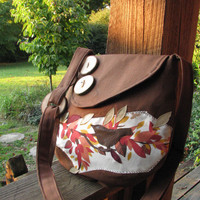 Small Birds, Trees, and Leaves Shoulder Bag with adjustable strap in Chocolate