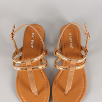Bamboo Aquarius-03 Buckled Thong Flat Sandal