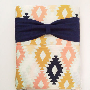 Aztec Print Padded Ipad Case with bow, elastic, and button closure