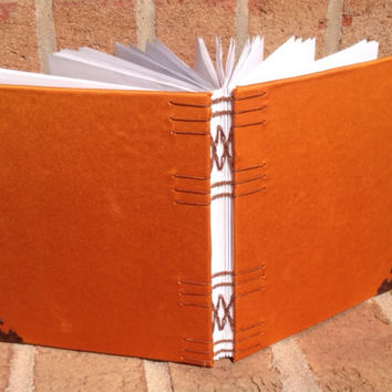 Blank Hand Bound Journal: 17 x 15 cm, Orange Satin