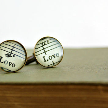Wedding cuff links for men.  Vintage sheet music accessory for guy gift for anniversary, birthday, fathers day, valentines day. Love