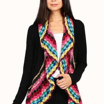 Colorful Plaid Crochet Accent Trim Open Cardigan - Waterfall Shawl Collar Cardigan