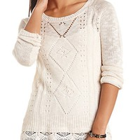 CROCHET-TRIMMED POINTELLE PULLOVER SWEATER