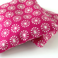 Organic Lavender Pillows in Raspberry Star Burst Print Set of 2 Fuchsia and White