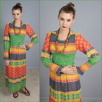 Vtg 70s Hippie Boho Color Block Festival Long Sleeve Ruffle Maxi Dress Small