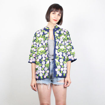 Vintage Embroidered Jacket Navy Blue Green Pink Floral Embroidered Blazer Boho Hippie Jacket Short Sleeve Asian Jacket Coat M Medium L Large