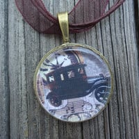 Vintage Car : A pendant charm necklace made from a glass tile and an Antique Bronze Plated circle bezel