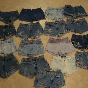 High Waisted Shorts Custom Order, Any Size, Made To Order, Upcycled Denim Jean Shorts, Summer Festival Wear