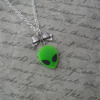 tiny alien head necklace with bow / laser cut green alien necklace