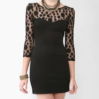 Dotted Mesh Bodycon Dress