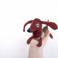 Geronimo - Dachshund, Small Art Puppet Lovely Dog Marionette, Felted Cute Stuffed Toy. brown orange. Special order for Amanda Hinton .