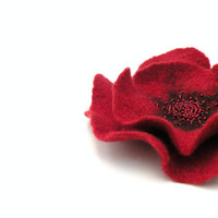 Felted flower brooch pin - red flower - felt flower - ready to ship - floral jewelry