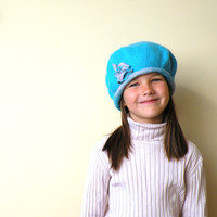 Felted wool beret with flower for girl - blue turquoise and pink - felted hat - felt hat - kids fashion - ready to ship