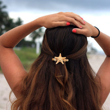 Starfish and Sea Shell Barrette