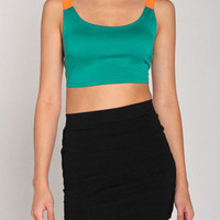 Net Banded Mini Crop Top in Teal