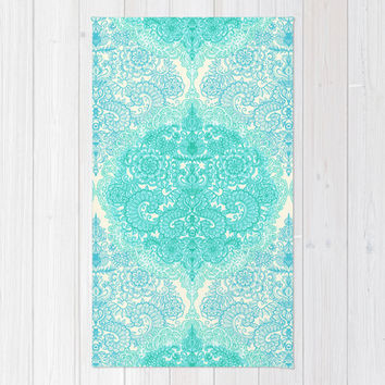 Happy Place Doodle in Mint Green & Aqua Area & Throw Rug by micklyn | Society6