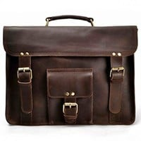 "ZLYC Men Vintage Retro HANDMADE Leather Bussiness Briefcase 15.6"" Laptop MacBook Messenger Shoulder Bag Backpack Satchel Handbag Dark Brown"
