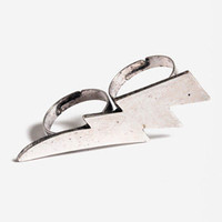 Lightening Bolt Double Finger Ring in Silver