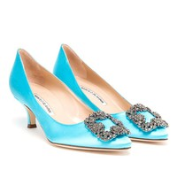 MANOLO BLAHNIK | Hangisi Embellished Satin Mid-Pumps | Browns fashion & designer clothes & clothing