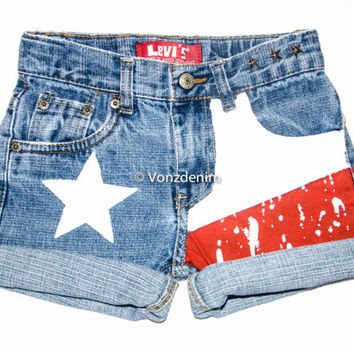 Texas Flag High Waisted Denim Shorts, Levi Vintage Hand Painted Shorts, Texas Flag Studded Shorts, Patriotic Hand Painted Shorts
