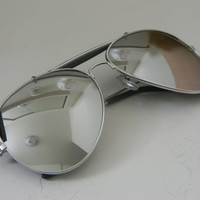 Vintage Deadstock MIRROR AVIATOR Sunglasses with SILVER Frames
