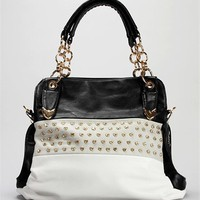 Black Colorblock Rhinestone Handbag
