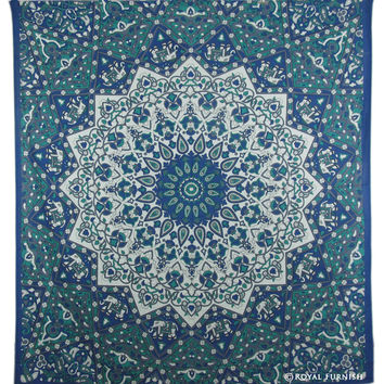 Queen White  Blue Indian Mandala Star Dorm Decor Hippie Tapestry Wall Hanging Bedspread  on RoyalFurnish.com