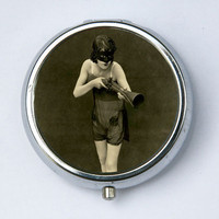 Masked Flapper  PILL CASE pillbox pill box holder with a gun erotic mysterious retro art deco punk rockabilly DIY