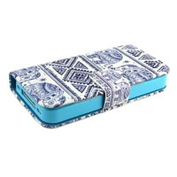 "ivencase Elephants Design Wallet PU Leather Stand Flip Case Cover For Apple iphone 4 4S + One ""ivencase "" Anti-dust Plug Stopper"