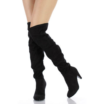 Method-01 Black Suede Over-the-knee Boots High Heel Shoes