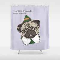 Smile  Shower Curtain by Huebucket