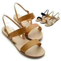 NEW Womens Shoes Double Strap Comfortable Slingback Strappy Flat Sandals