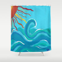 Sun and Wave abstract Shower Curtain by Shawna Stewart