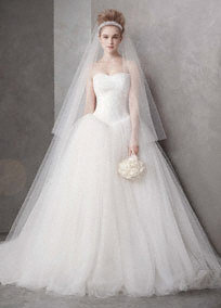 Ball Gown with Chantilly Lace Appliques at Bodice