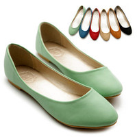 NEW Womens Shoes Ballet Flats Loafers Basic Light Low Heels Cute Multi Colored