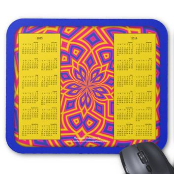 2015-2016 Calendar Mousepad-Crazy Brights Blue